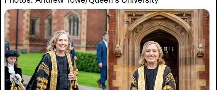 """Hillary Clinton Heckled as """"War Criminal"""" During Chancellor Invocation Ceremony at Queens University in Belfast"""