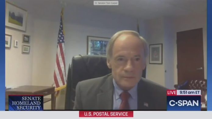 Senator Carper on the video conference, immediately after the hot mic incident