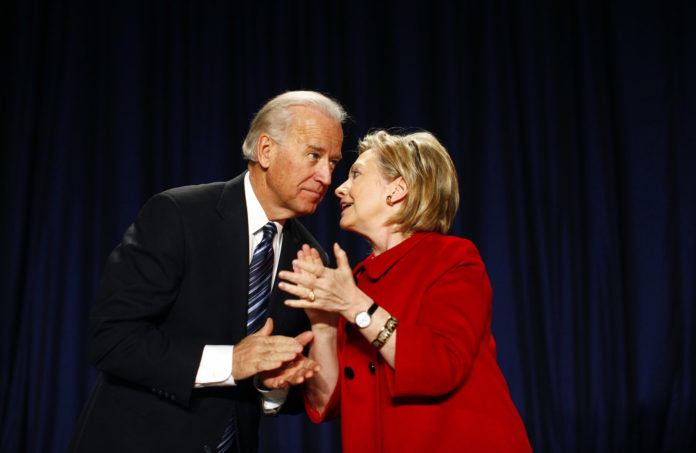 Hillary Clinton speaking to Joe Biden