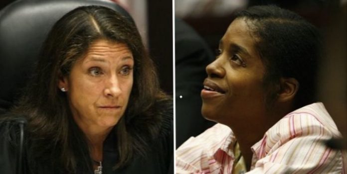 Judge Tracy Sheehan (left), Welfare mother Angel Adams (right)