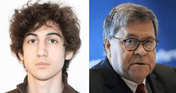 Dzhokhar Tsarnaev (right), Attorney General William Barr, head of the Justice Department (right)