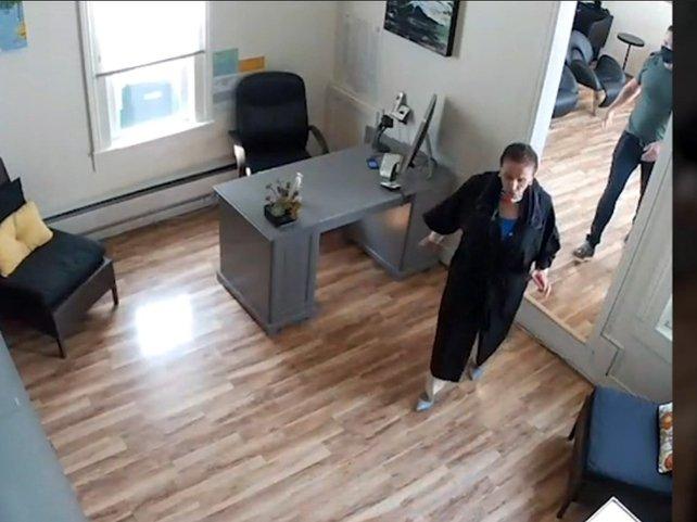 Nancy Pelosi walking through the closed salon