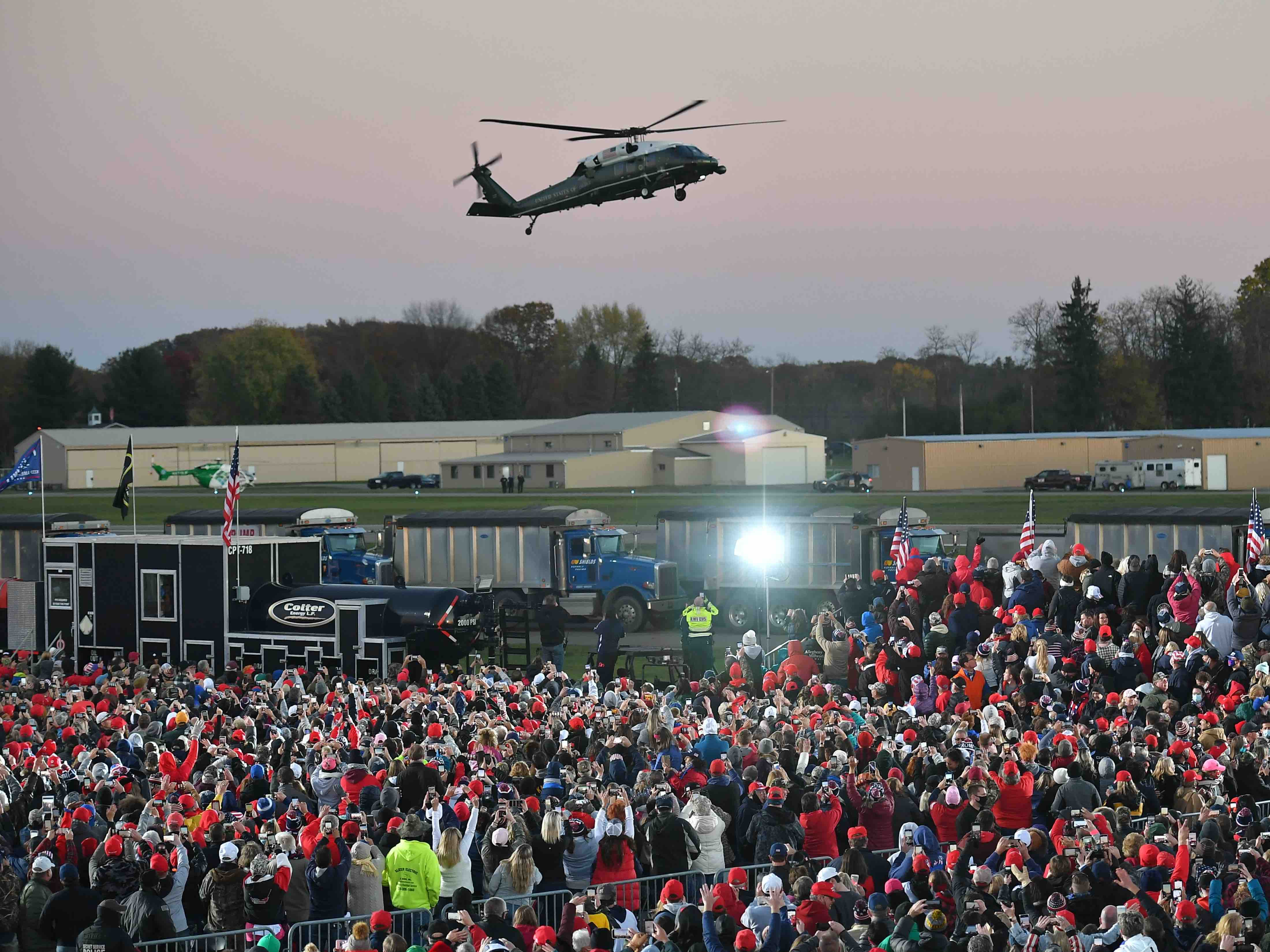 Marine One in Pennsylvania (Mandel Ngan / AFP / Getty)