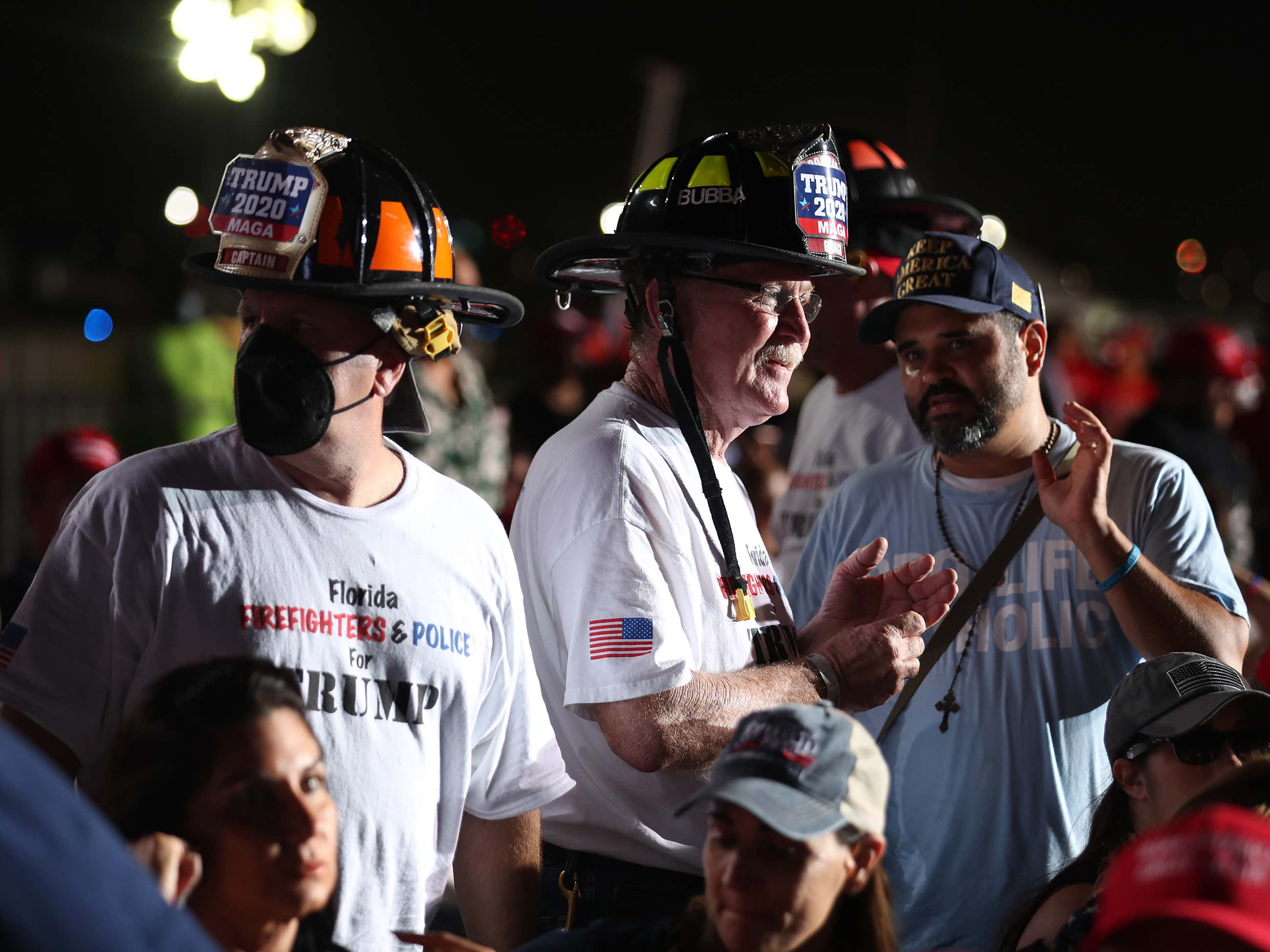 Firefighters at Miami rally (Joe Raedle / Getty)