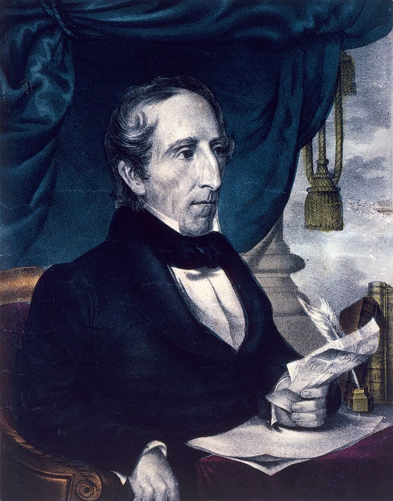 circa 1841: John Tyler (1790 - 1862), the 10th president of the United States. He was the first vice-president to succeed to the presidency upon the death of his predecessor, William Henry Harrison. Published by Nathaniel Currier. (Photo by MPI/Getty Images)