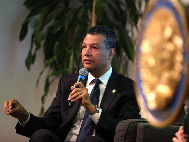 SAN FRANCISCO, CA - MAY 24: California secretary of state Alex Padilla speaks during a news conference at Uber headquarters on May 24, 2018 in San Francisco, California. California secretary of state Alex Padilla announced a partnership with Uber to feature a public service announcement that will appear when Uber users and drivers open their app reminding them vote in Caifornia's statewide primary on June 5th. The notification will begin appearing on the Uber app on June 2nd. (Photo by Justin Sullivan/Getty Images)