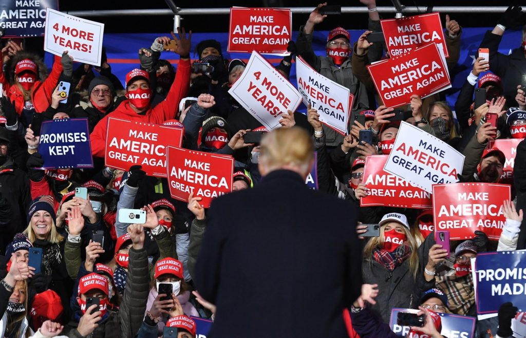 US President Donald Trump arrives for a rally at Williamsport Regional Airport in Montoursville, Pennsylvania on October 31, 2020. (Photo by MANDEL NGAN / AFP) (Photo by MANDEL NGAN/AFP via Getty Images)