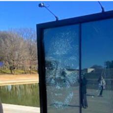 Shattered Glass Portrait of Vice President Kamala Harris Erected in D.C.