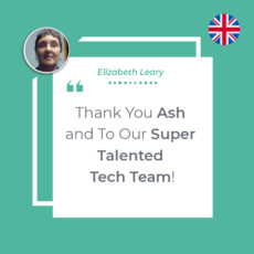 Thank You Ash and To Our Super Talented Tech Team!
