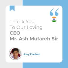 Thank You To Our Loving C.E.O Mr. Ash Mufareh sir