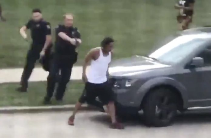 Jacob Blake, moments before he was shot by officers as he attempted to reach into his car